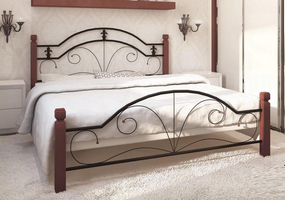 Металлическая кровать Диана на деревянных ножках, фото 1