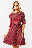 Женское стильное красное платье с юбкой клеш в мелкую клетку с поясом