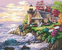 Раскраска по цифрам MENGLEI Маленький маяк у дома худ. Кинкейд Томас (MG115, G174, UMG525) 40 х 50 см
