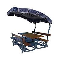 Садовый стол с лавками и навесом открытая беседка