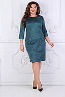 Платье батальное зеленое, фото 1