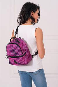 Розовый полукруглый рюкзак MAX с абстрактным принтом