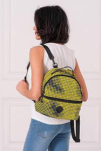 Желтый полукруглый рюкзак MAX с абстрактным принтом
