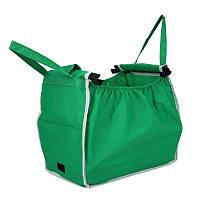 Складная сумка для покупок Grab Bag Snap-on-Cart Shopping Bag, Зеленая, с доставкой по Украине
