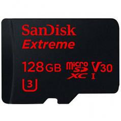 Флешка карта памяти SanDisk Extreme microSDXC сlass10 A1 V30 UHS-I U3 128GB с SD адаптером
