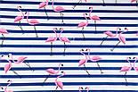 """Ткань хлопковая """"Фламинго на синей полоске"""" (№1389), фото 3"""