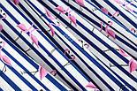 """Ткань хлопковая """"Фламинго на синей полоске"""" (№1389), фото 4"""