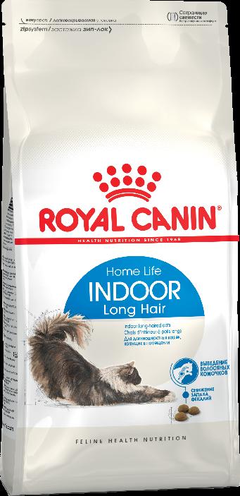 Royal Canin Indoor Long Hair 2 кг сухой корм для кошек для домашних длинношерстных от 1 до 7 лет