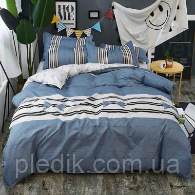 Постельное белье полуторное простыня 200х230 HomyTex Classic Blue lagoon