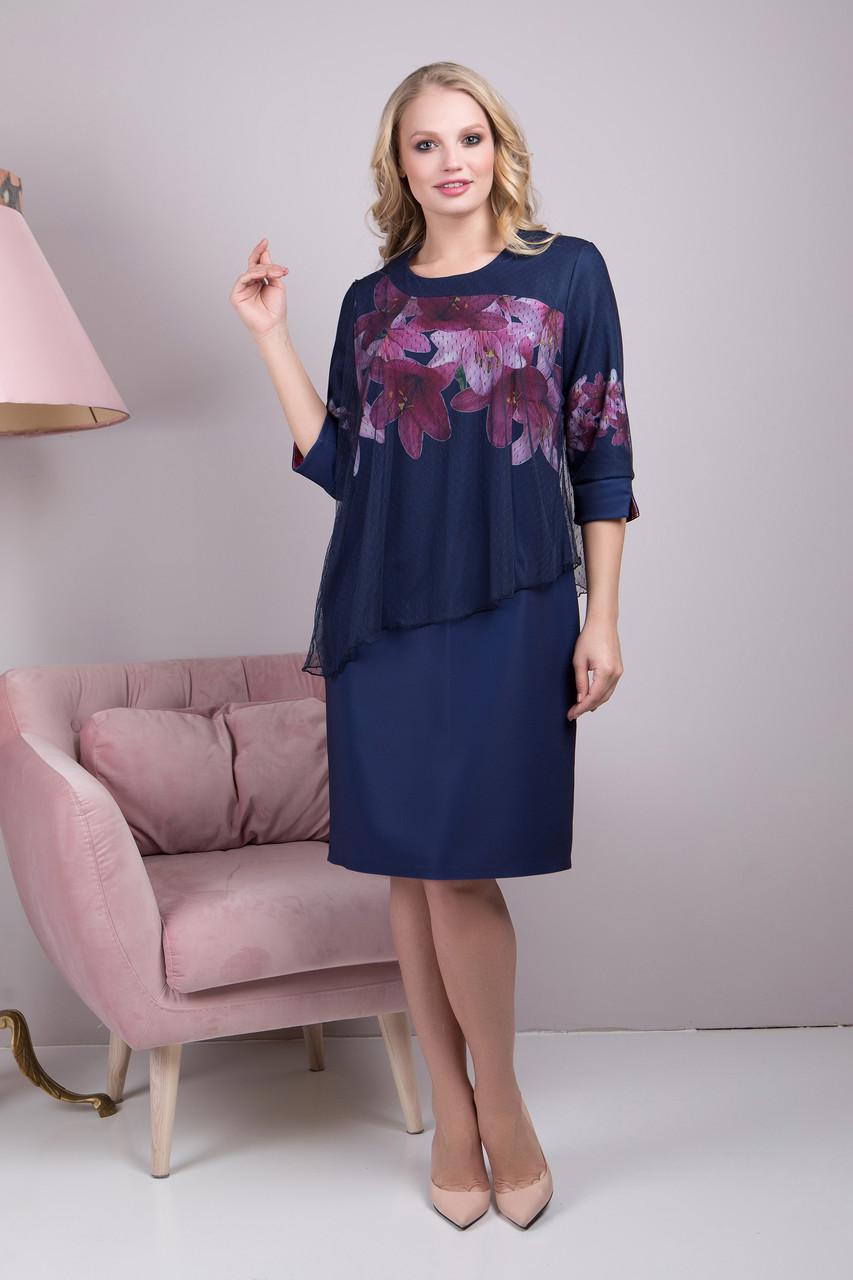 e0e375fd5b3d3b9 Женское синее платье большого размера Джоли 2 ТМ ALL POSA 50-60 размеры -  Интернет