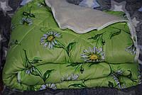 Одеяло зимнее шерсть одна сторона открытая зеленое