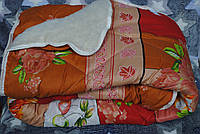 Одеяло зимнее шерсть одна сторона открытая оранжевое