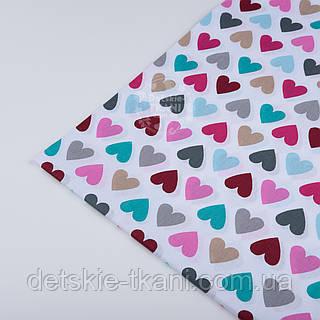 Отрез ткани 57*160 с разноцветными сердечками розово-бирюзовыми №298а