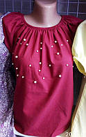 Женская блуза короткая с бусинами S, M, L