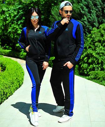 """Женский спортивный костюм """"Adidas"""". Чёрный с синим."""