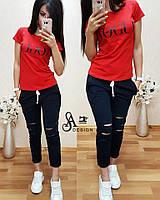 Женский спортивный костюм футболка с бриджами, в расцветках. К-2-0618