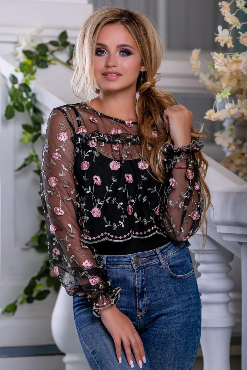 Красивая женская блуза 2672 черный с розовой вышивкой