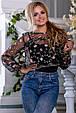 Красивая женская блуза 2672 черный с розовой вышивкой, фото 2