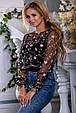 Красивая женская блуза 2672 черный с розовой вышивкой, фото 4