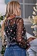 Красивая женская блуза 2672 черный с розовой вышивкой, фото 5