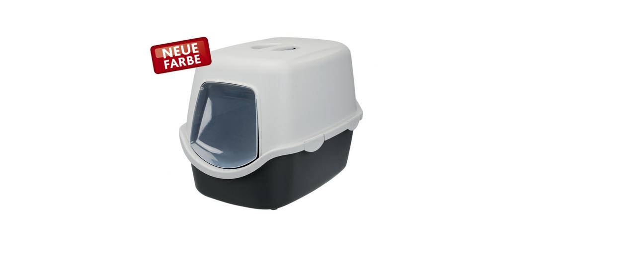 Туалет для котов Vico закрытый, 40 × 40 × 56 см, графитовый/светло-серый, пластик (Trixie 40271)