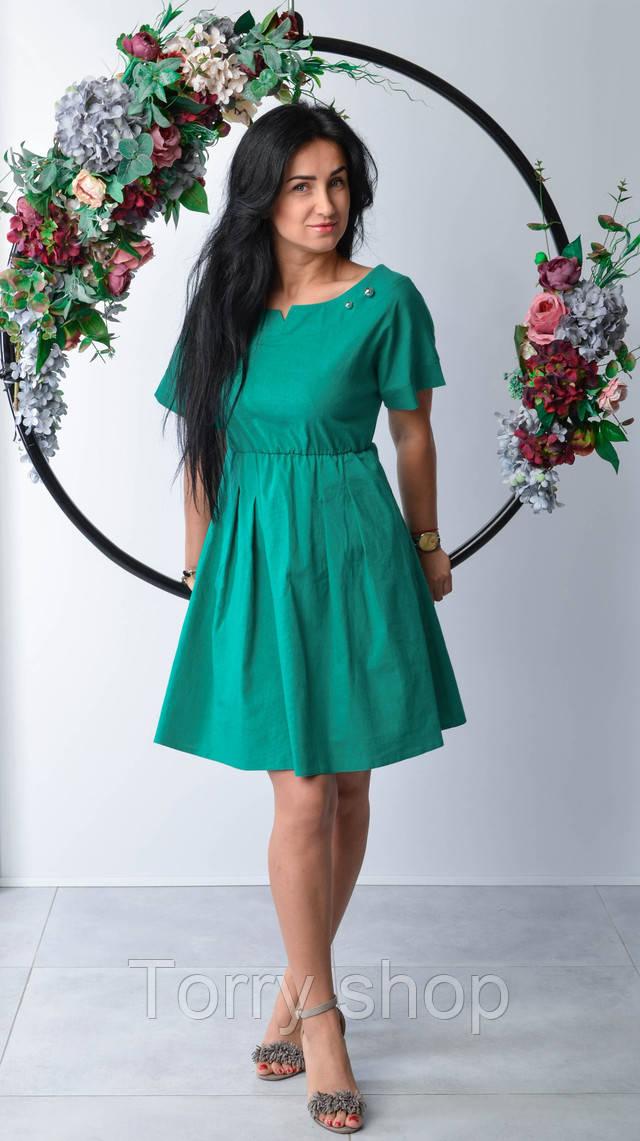 329642298a7 Молодежное льняное платье с открытыми плечами красного цвета ...