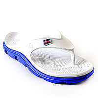 Кроксы, вьетнамки белые / синяя подошва. Размеры 40, 41, 42, 43. JoAm 118215.