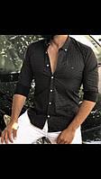 Брендовые мужские рубашки Tommy Hilfiger черная, белая, синяя, светло - синяя  ( 100% коттон) 2018
