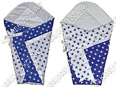 Летний конверт одеяло на выписку для новорожденного Синие звезды
