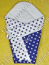 Летний конверт одеяло на выписку для новорожденного Синие звезды, фото 2