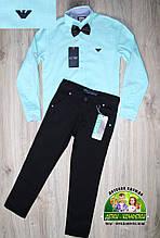 Нарядный комплект Armani для мальчика: мятная рубашка и синие или черные брюки