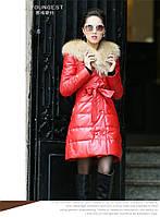 Женская кожаная куртка — пуховик воротник енот 2 цвета, фото 1