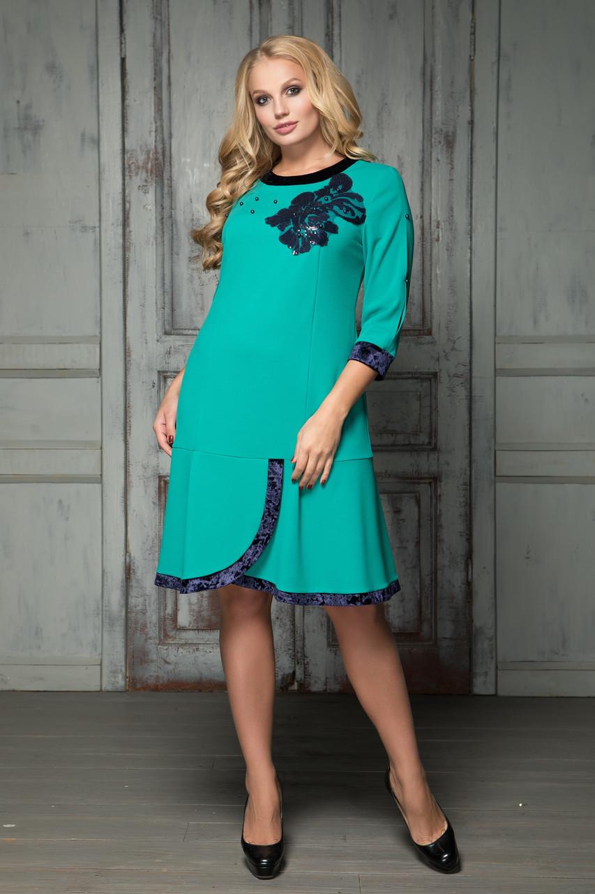 27a3067522f Женское бирюзовое платье Милана ТМ ALL POSA 50-56 размеры -  Интернет-магазин одежды