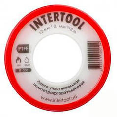 Лента тефлоновая Intertool фум (политетрафторэтиленовая) 15 м х 0,1 мм х 12 мм (арт. IT-0001)
