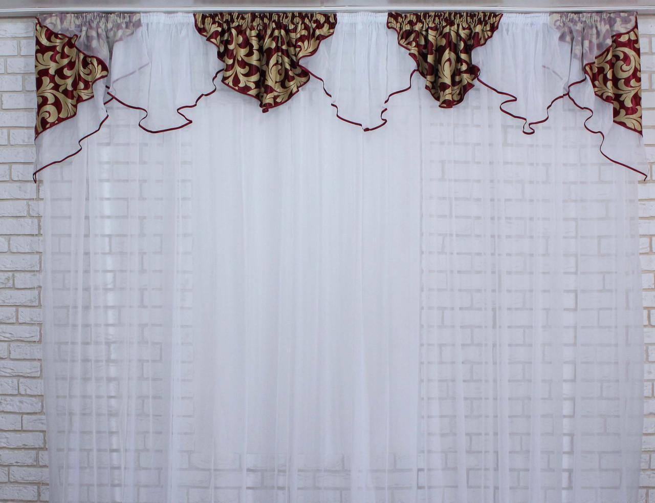 Ламбрекен №100 из плотной ткани на карниз 2,5-3м.  Код:100л073(А)