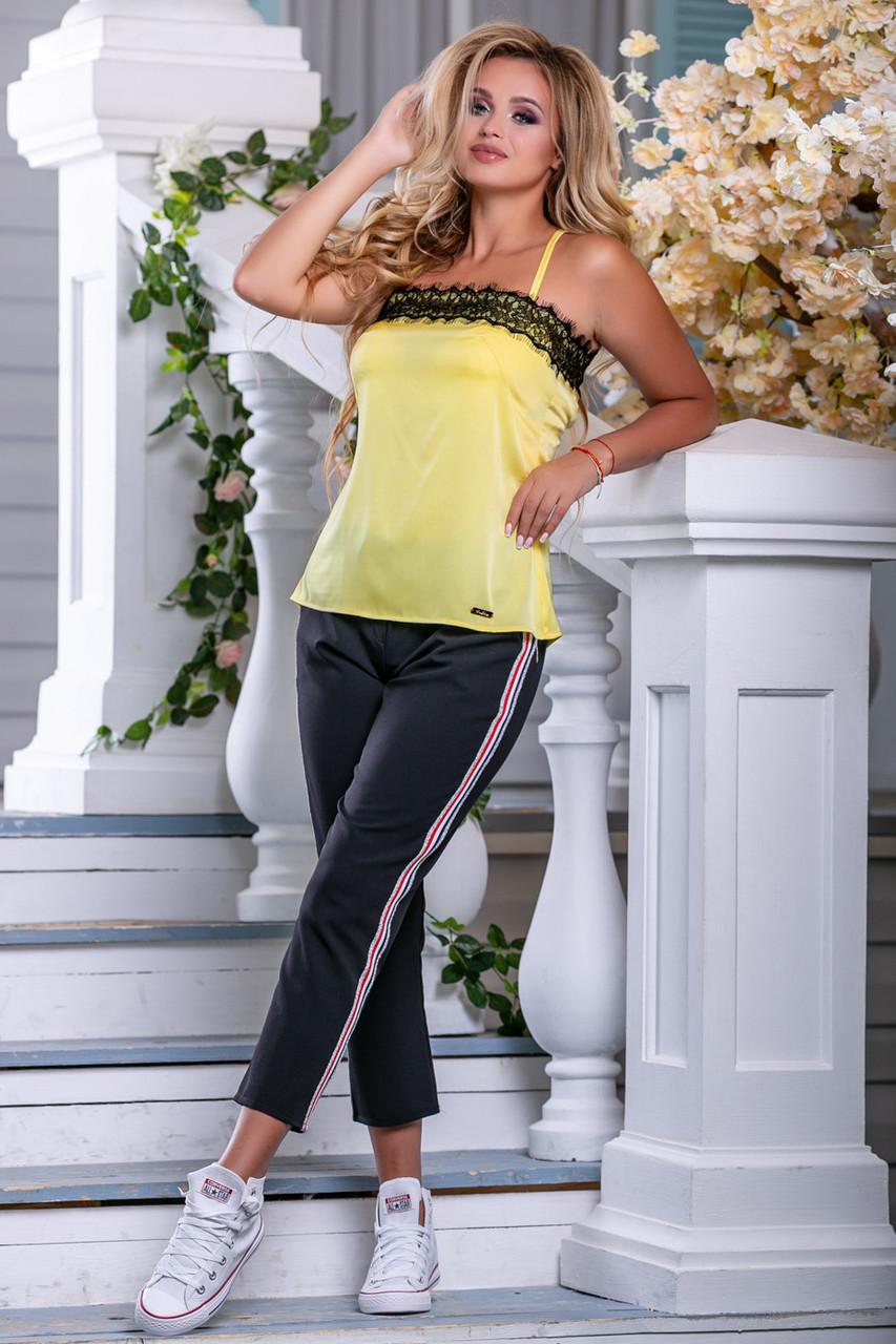 Красивая женская стильная майка 2691 желтый