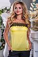 Красивая женская стильная майка 2691 желтый, фото 3