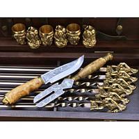 Шампура Козаки эксклюзивный набор в деревянном кейсе из бука