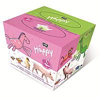 Платочки универсальные двухслойные bella baby Happy, свинка, 40+40 шт.