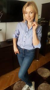 Рубашка женская голубая полоска