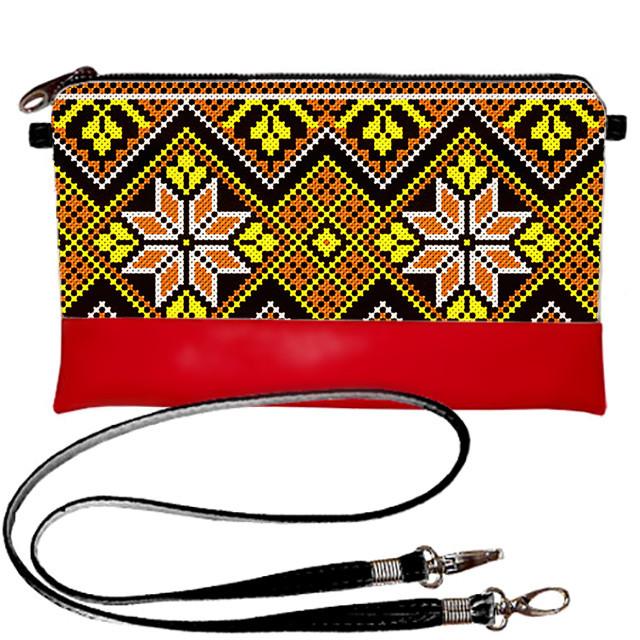 Клатч Moderika Lady красный с рисунком Вышиванка (44182)