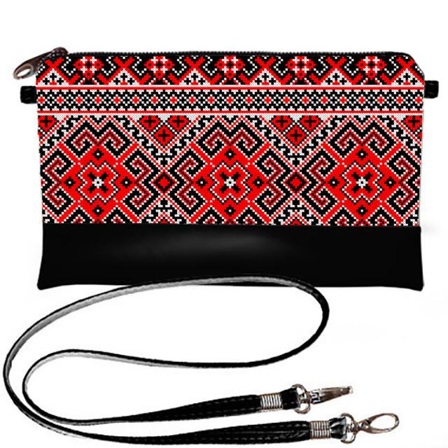 Клатч Moderika Lady черный с рисунком Красная вышиванка (44033)