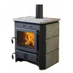 Печь-камин с водяным контуром MBS Thermo Vulkan, 14 кВт (сталь/камень/чёрный)