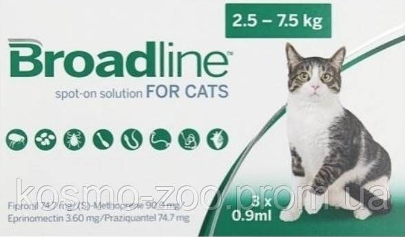 Бродлайн (Broadline) Спот-Он от внутренних и внешних паразитов для котов весом 2,5-7,5 кг, цена за 1 пипетку