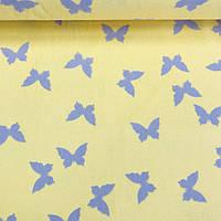 Хлопковая ткань (Турция шир. 2,4 м) серые бабочки на желтом