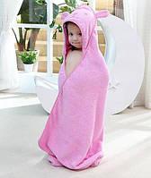 Полотенце уголок для купания, простынь детская розовая