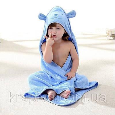 Полотенце уголок для купания, простынь детская голубая