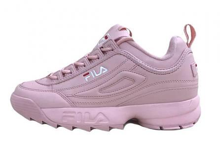 b77324427ec6 Кроссовки женские фила повседневные розовые кожаные (реплика) Fila  Disruptor II Light Pink Leather