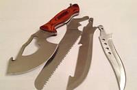 Универсальный туристический походный нож Егерь 4 в 1 Чёрный