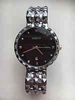 Женские наручные часы Gucci серебро, чёрный циферблат, Гуччи ( код: IBW103SB )